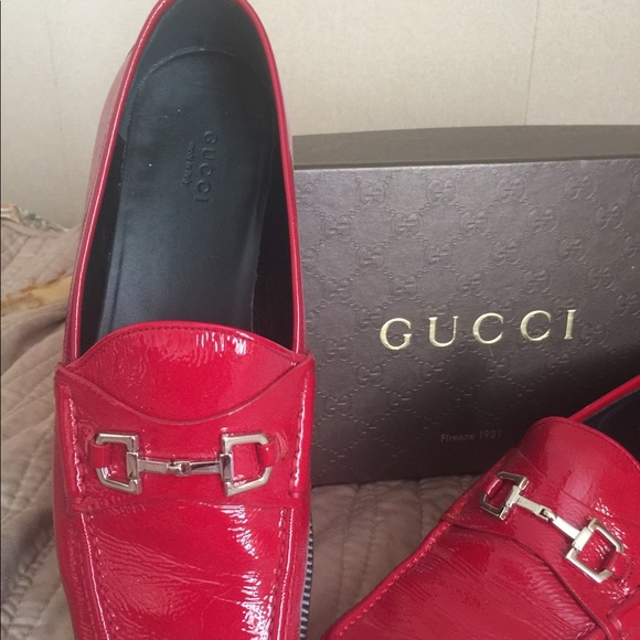 38692398d Gucci Shoes   Red Patent Leather Loafers   Poshmark
